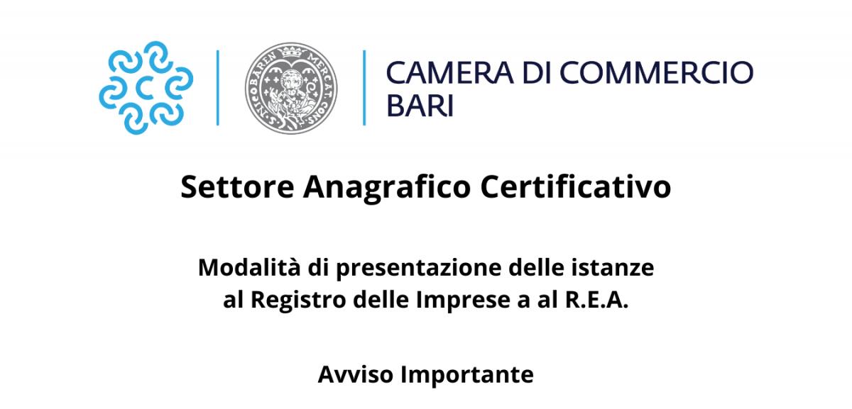 SETTORE ANAGRAFICO CERTIFICATIVO MODALIT� DI PRESENTAZIONE DELLE ISTANZE AL R.I E AL R.E.A. - AVVISO IMPORTANTE