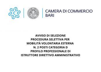 AVVISO DI SELEZIONE - Procedura selettiva per mobilità volontaria esterna n. 2 posti Categoria D - Profilo Professionale di Istruttore Direttivo Amministrativo