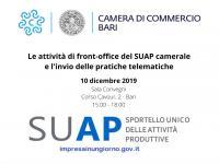 Le attività di front-office del SUAP camerale e l'invio delle pratiche telematiche - Incontro 10 dicembre 2019