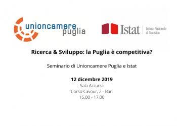 Ricerca & Sviluppo: la Puglia è competitiva? -  Seminario Istat e Unioncamere Puglia il 12 dicembre