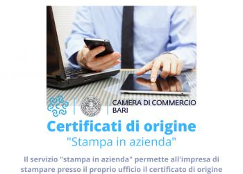 Certificati di Origine Servizio 'Stampa in Azienda'