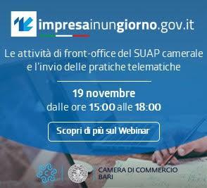 Le attività di front-office del SUAP camerale e l'invio delle pratiche telematiche – Sessione tecnica di aggiornamento in modalità Webinar