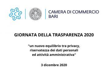 La trasparenza amministrativa ai tempi del Covid-19 - le attività 2020 della Camera di Commercio di Bari
