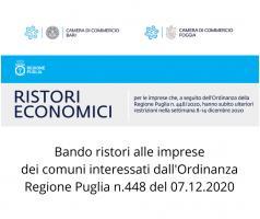 BANDO RISTORI ALLE IMPRESE DEI COMUNI INTERESSATI DALL'ORDINANZA REGIONE PUGLIA N. 448 DEL 07/12/2020
